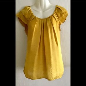 Willi Smith crop sleeve top (S) gold pleated neck